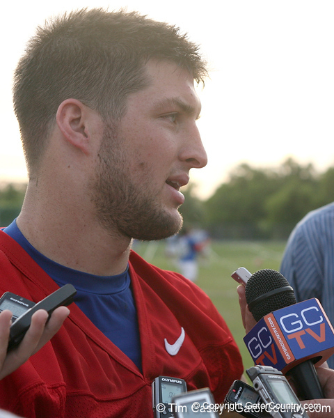 photo by Tim Casey<br /> <br /> after the Gators' first day of spring football practice on Wednesday, March 25, 2009 at the Sanders football practice fields in Gainesville, Fla.