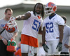 photo by Tim Casey<br /> <br /> Brandon Spikes talks with Jonathan Bostic during the Gators' first day of spring football practice on Wednesday, March 25, 2009 at the Sanders football practice fields in Gainesville, Fla.