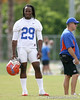 photo by Tim Casey<br /> <br /> Janoris Jenkins looks on during the Gators' first day of spring football practice on Wednesday, March 25, 2009 at the Sanders football practice fields in Gainesville, Fla.