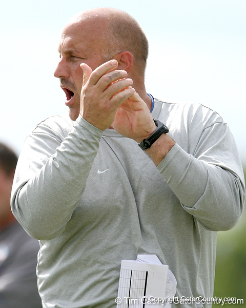 photo by Tim Casey<br /> <br /> Steve Addazio motivates players during the Gators' first day of spring football practice on Wednesday, March 25, 2009 at the Sanders football practice fields in Gainesville, Fla.