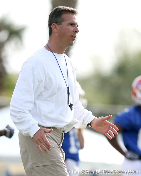 photo by Tim Casey<br /> <br /> Urban Meyer gives instructions during the Gators' first day of spring football practice on Wednesday, March 25, 2009 at the Sanders football practice fields in Gainesville, Fla.