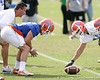 photo by Tim Casey<br /> <br /> Mike Williamson prepares to snap the ball during the Gators' first day of spring football practice on Wednesday, March 25, 2009 at the Sanders football practice fields in Gainesville, Fla.