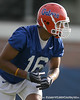 photo by Tim Casey<br /> <br /> Carl Moore works out during the Gators' first day of spring football practice on Wednesday, March 25, 2009 at the Sanders football practice fields in Gainesville, Fla.