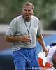 photo by Tim Casey<br /> <br /> Dan McCarney gives instructions during the Gators' first day of spring football practice on Wednesday, March 25, 2009 at the Sanders football practice fields in Gainesville, Fla.
