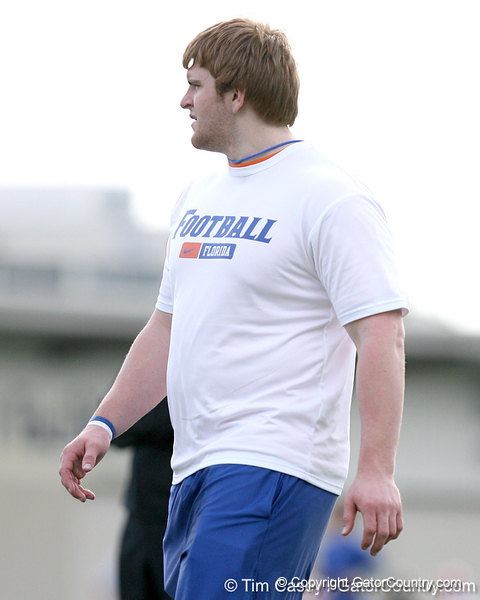 photo by Tim Casey<br /> <br /> Chase Rome looks on during the Gators' first day of spring football practice on Wednesday, March 25, 2009 at the Sanders football practice fields in Gainesville, Fla.