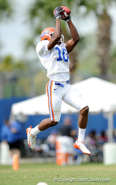 Will Hill makes a catch as the University of Florida football team holds their third Spring practice on Saturday, March 28, 2009 in Gainesville, Fla. / Gator Country photo by Staff