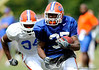 Vincent Brown runs with the football as the University of Florida football team holds their third Spring practice on Saturday, March 28, 2009 in Gainesville, Fla. / Gator Country photo by Staff