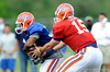 Tim Tebow makes a handoff as the University of Florida football team holds their third Spring practice on Saturday, March 28, 2009 in Gainesville, Fla. / Gator Country photo by Staff