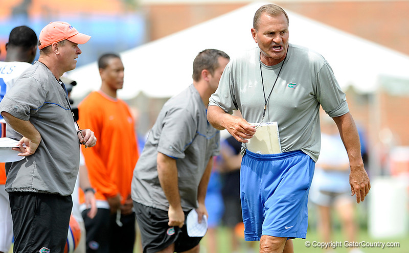 Dan McCarney barks out orders as the University of Florida football team holds their third Spring practice on Saturday, March 28, 2009 in Gainesville, Fla. / Gator Country photo by Staff