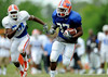 Walk-on running back Vincent Brown carries the ball as the University of Florida football team holds their third Spring practice on Saturday, March 28, 2009 in Gainesville, Fla. / Gator Country photo by Staff