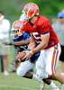 Tim Tebow prepares to make a handoff as the University of Florida football team holds their third Spring practice on Saturday, March 28, 2009 in Gainesville, Fla. / Gator Country photo by Staff