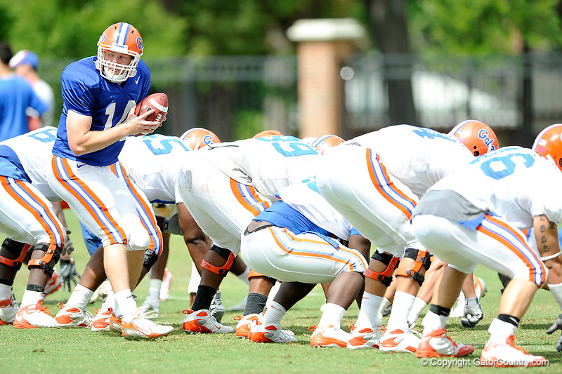 Scout team quarterback Andrew Blaylock takes the snap during drills as The University of Florida football team holds their third Spring practice on Saturday, March 28, 2009 in Gainesville, Fla. / Gator Country photo by Staff