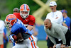 Tim Tebow hands off to Chris Rainey as Head Coach Urban Meyer and new Offensive Coordinator Steve Addazio keep a close eye on the happenings as The University of Florida football team holds their third Spring practice on Saturday, March 28, 2009 in Gainesville, Fla. / Gator Country photo by Staff