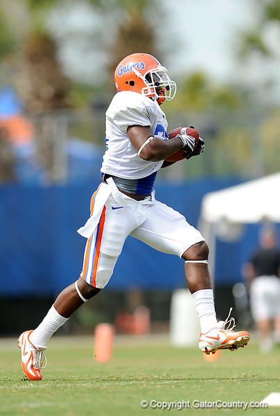 Major Wright works out as the University of Florida football team holds their third Spring practice on Saturday, March 28, 2009 in Gainesville, Fla. / Gator Country photo by Staff