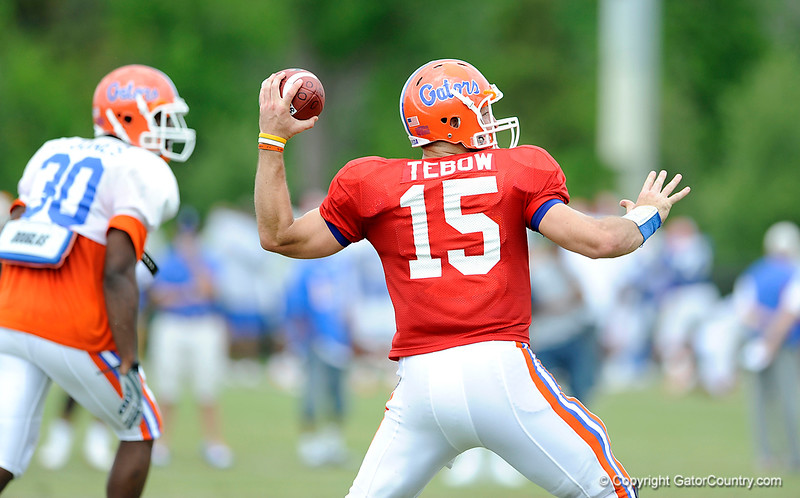 Tim Tebow gets ready to deliver a throw as the University of Florida football team holds their third Spring practice on Saturday, March 28, 2009 in Gainesville, Fla. / Gator Country photo by Staff