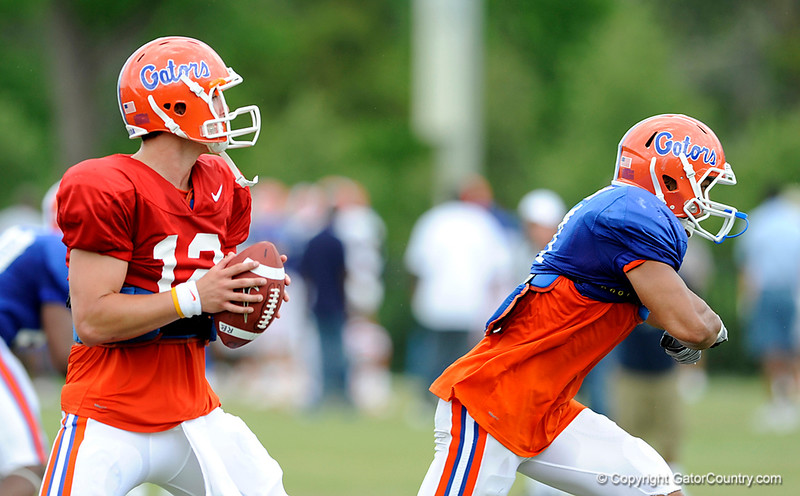 John Brantley looks to make a play as the University of Florida football team holds their third Spring practice on Saturday, March 28, 2009 in Gainesville, Fla. / Gator Country photo by Staff