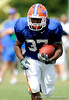 Vincent Brown runs with the ball as the University of Florida football team holds their third Spring practice on Saturday, March 28, 2009 in Gainesville, Fla. / Gator Country photo by Staff