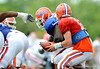 Quarterback John Brantley drops back in the pocket as the University of Florida football team holds their third Spring practice on Saturday, March 28, 2009 in Gainesville, Fla. / Gator Country photo by Staff
