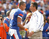 Florida redshirt senior wide receiver David Nelson hugs head coach Urban Meyer during the Senior Day ceremony before the Gators' 37-10 win against Florida State on Saturday, November 28, 2009 at Ben Hill Griffin Stadium in Gainesville, Fla. / Gator Country photo by Tim Casey