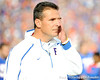 Florida head coach Urban Meyer wipes his eye during the Senior Day ceremony before the Gators' 37-10 win against Florida State on Saturday, November 28, 2009 at Ben Hill Griffin Stadium in Gainesville, Fla. / Pool photo by Phil Sandlin