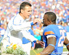 Florida head coach Urban Meyer greets senior Brandon James during the Senior Day ceremony before the Gators' 37-10 win against Florida State on Saturday, November 28, 2009 at Ben Hill Griffin Stadium in Gainesville, Fla. / Pool photo by Phil Sandlin