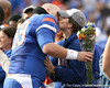 Florida redshirt junior long snapper John Fairbanks kisses his wife during the Senior Day ceremony before the Gators' 37-10 win against Florida State on Saturday, November 28, 2009 at Ben Hill Griffin Stadium in Gainesville, Fla. / Gator Country photo by Tim Casey