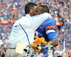 Florida head coach Urban Meyer greets redshirt junior running back Christopher Scott during the Senior Day ceremony before the Gators' 37-10 win against Florida State on Saturday, November 28, 2009 at Ben Hill Griffin Stadium in Gainesville, Fla. / Pool photo by Phil Sandlin