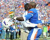 Florida head coach Urban Meyer greets redshirt senior tight end Christopher Coleman during the Senior Day ceremony before the Gators' 37-10 win against Florida State on Saturday, November 28, 2009 at Ben Hill Griffin Stadium in Gainesville, Fla. / Pool photo by Phil Sandlin