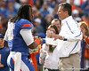 Florida senior linebacker Brandon Spikes hugs head coach Urban Meyer during the Senior Day ceremony before the Gators' 37-10 win against Florida State on Saturday, November 28, 2009 at Ben Hill Griffin Stadium in Gainesville, Fla. / Gator Country photo by Tim Casey
