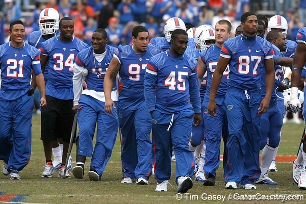 Victor Okine heads to the locker room before the Gators' 37-10 win against Florida State on Saturday, November 28, 2009 at Ben Hill Griffin Stadium in Gainesville, Fla. / Gator Country photo by Tim Casey