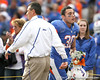 Florida head coach Urban Meyer greets redshirt junior linebacker Chris Pintado during the Senior Day ceremony before the Gators' 37-10 win against Florida State on Saturday, November 28, 2009 at Ben Hill Griffin Stadium in Gainesville, Fla. / Gator Country photo by Tim Casey