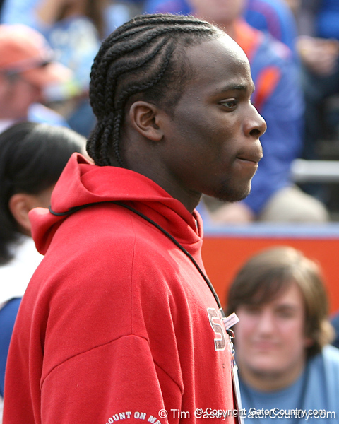 Portland , Ore. David Douglas HS senior defensive end Owamagbe Odighizuwa watches before the Gators' 37-10 win against Florida State on Saturday, November 28, 2009 at Ben Hill Griffin Stadium in Gainesville, Fla. / Gator Country photo by Tim Casey