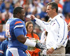 Florida senior defensive tackle Troy Epps embraces head coach Urban Meyer during the Senior Day ceremony before the Gators' 37-10 win against Florida State on Saturday, November 28, 2009 at Ben Hill Griffin Stadium in Gainesville, Fla. / Gator Country photo by Tim Casey