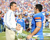 Florida head coach Urban Meyer greets senior fullback Rick Burgess during the Senior Day ceremony before the Gators' 37-10 win against Florida State on Saturday, November 28, 2009 at Ben Hill Griffin Stadium in Gainesville, Fla. / Pool photo by Phil Sandlin