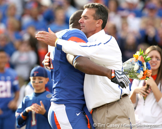 Florida redshirt senior linebacker Ryan Stamper hugs redshirt senior linebacker Ryan Stamper during the Senior Day ceremony before the Gators' 37-10 win against Florida State on Saturday, November 28, 2009 at Ben Hill Griffin Stadium in Gainesville, Fla. / Gator Country photo by Tim Casey