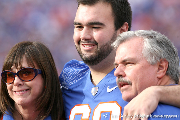 Florida senior Jim Barrie poses for a photo with his family during the Senior Day ceremony before the Gators' 37-10 win against Florida State on Saturday, November 28, 2009 at Ben Hill Griffin Stadium in Gainesville, Fla. / Gator Country photo by Tim Casey