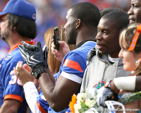 Florida players watch during the Senior Day ceremony before the Gators' 37-10 win against Florida State on Saturday, November 28, 2009 at Ben Hill Griffin Stadium in Gainesville, Fla. / Gator Country photo by Tim Casey