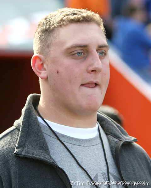 Ridgefield, Conn. junior offensive lineman Tommy Jordan watches before the Gators' 37-10 win against Florida State on Saturday, November 28, 2009 at Ben Hill Griffin Stadium in Gainesville, Fla. / Gator Country photo by Tim Casey