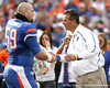 Florida redshirt junior long snapper John Fairbanks embraces head coach Urban Meyer during the Senior Day ceremony before the Gators' 37-10 win against Florida State on Saturday, November 28, 2009 at Ben Hill Griffin Stadium in Gainesville, Fla. / Gator Country photo by Tim Casey