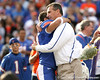 Florida redshirt senior defensive back Joey Sorrentino hugs head coach Urban Meyer during the Senior Day ceremony before the Gators' 37-10 win against Florida State on Saturday, November 28, 2009 at Ben Hill Griffin Stadium in Gainesville, Fla. / Gator Country photo by Tim Casey