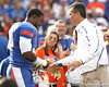 Florida senior linebacker Dustin Doe hugs head coach Urban Meyer during the Senior Day ceremony before the Gators' 37-10 win against Florida State on Saturday, November 28, 2009 at Ben Hill Griffin Stadium in Gainesville, Fla. / Gator Country photo by Tim Casey
