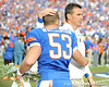 Florida head coach Urban Meyer greets redshirt senior long snapper Mike Williamson during the Senior Day ceremony before the Gators' 37-10 win against Florida State on Saturday, November 28, 2009 at Ben Hill Griffin Stadium in Gainesville, Fla. / Pool photo by Phil Sandlin