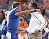 Florida senior quarterback Tim Tebow hugs head coach Urban Meyer during the Senior Day ceremony before the Gators' 37-10 win against Florida State on Saturday, November 28, 2009 at Ben Hill Griffin Stadium in Gainesville, Fla. / Gator Country photo by Tim Casey