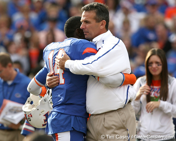 Florida senior cornerback Markihe Anderson embraces head coach Urban Meyer during the Senior Day ceremony before the Gators' 37-10 win against Florida State on Saturday, November 28, 2009 at Ben Hill Griffin Stadium in Gainesville, Fla. / Gator Country photo by Tim Casey