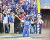 Florida senior linebacker Brandon Spikes basks in the moment during the Senior Day ceremony before the Gators' 37-10 win against Florida State on Saturday, November 28, 2009 at Ben Hill Griffin Stadium in Gainesville, Fla. / Pool photo by Phil Sandlin
