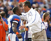 Florida senior Brandon James hugs head coach Urban Meyer during the Senior Day ceremony before the Gators' 37-10 win against Florida State on Saturday, November 28, 2009 at Ben Hill Griffin Stadium in Gainesville, Fla. / Gator Country photo by Tim Casey