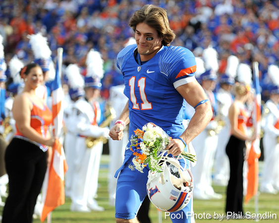 Florida senior wide receiver Riley Cooper runs onto the field during the Senior Day ceremony before the Gators' 37-10 win against Florida State on Saturday, November 28, 2009 at Ben Hill Griffin Stadium in Gainesville, Fla. / Pool photo by Phil Sandlin