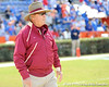 Florida State coach Bobby Bowden oversees warmups before the Gators' 37-10 win against Florida State on Saturday, November 28, 2009 at Ben Hill Griffin Stadium in Gainesville, Fla. / Pool photo by Phil Sandlin