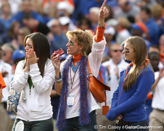 Shelley Meyer cheers during the Senior Day ceremony before the Gators' 37-10 win against Florida State on Saturday, November 28, 2009 at Ben Hill Griffin Stadium in Gainesville, Fla. / Gator Country photo by Tim Casey