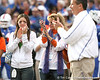 Nicki Meyer watches her father during the Senior Day ceremony before the Gators' 37-10 win against Florida State on Saturday, November 28, 2009 at Ben Hill Griffin Stadium in Gainesville, Fla. / Gator Country photo by Tim Casey